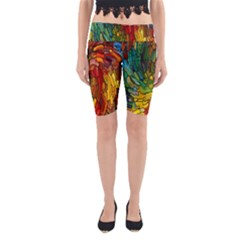 Stained Glass Patterns Colorful Yoga Cropped Leggings