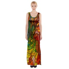 Stained Glass Patterns Colorful Maxi Thigh Split Dress