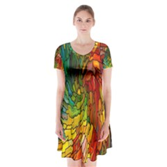 Stained Glass Patterns Colorful Short Sleeve V-neck Flare Dress