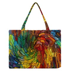 Stained Glass Patterns Colorful Medium Zipper Tote Bag