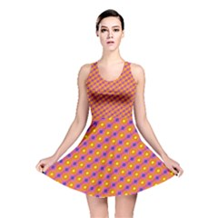 Vibrant Retro Diamond Pattern Reversible Skater Dress