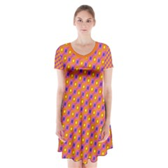 Vibrant Retro Diamond Pattern Short Sleeve V Neck Flare Dress