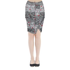 Sribble Plaid Midi Wrap Pencil Skirt