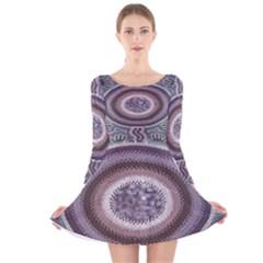 Spirit Of The Child Australian Aboriginal Art Long Sleeve Velvet Skater Dress