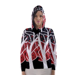 Decorative tree 3 Hooded Wind Breaker (Women)