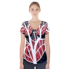 Decorative Tree 3 Short Sleeve Front Detail Top