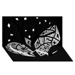 Black and white tree Twin Heart Bottom 3D Greeting Card (8x4)