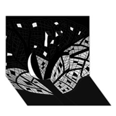 Black and white tree Apple 3D Greeting Card (7x5)
