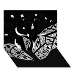 Black and white tree Clover 3D Greeting Card (7x5)
