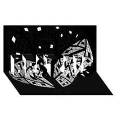 Black and white tree BEST SIS 3D Greeting Card (8x4)