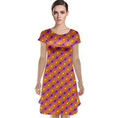 Vibrant Retro Diamond Pattern Cap Sleeve Nightdress