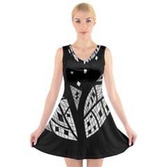Black and white tree V-Neck Sleeveless Skater Dress