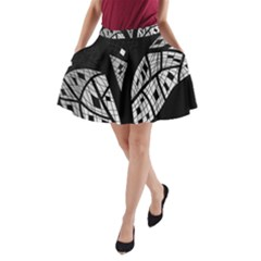 Black and white tree A-Line Pocket Skirt