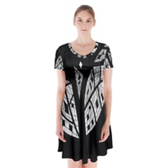 Black and white tree Short Sleeve V-neck Flare Dress
