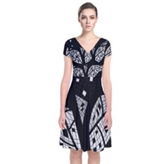Black and white tree Short Sleeve Front Wrap Dress