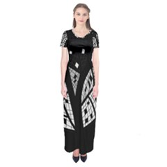 Black and white tree Short Sleeve Maxi Dress
