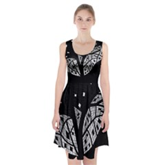 Black and white tree Racerback Midi Dress