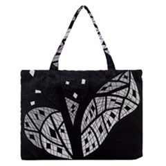 Black And White Tree Medium Zipper Tote Bag