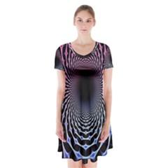 Spider Web Short Sleeve V-neck Flare Dress