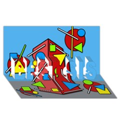 Crazy building BEST SIS 3D Greeting Card (8x4)