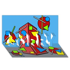 Crazy building SORRY 3D Greeting Card (8x4)