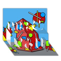 Crazy building Miss You 3D Greeting Card (7x5)