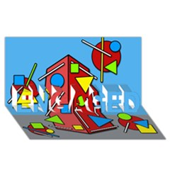 Crazy building ENGAGED 3D Greeting Card (8x4)