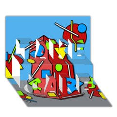 Crazy Building Take Care 3d Greeting Card (7x5)
