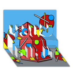 Crazy building You Did It 3D Greeting Card (7x5)