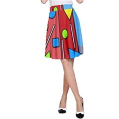 Crazy building A-Line Skirt