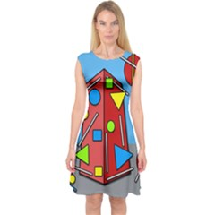 Crazy building Capsleeve Midi Dress