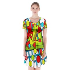 Crazy geometric art Short Sleeve V-neck Flare Dress