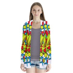 Crazy geometric art Drape Collar Cardigan