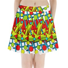 Crazy geometric art Pleated Mini Skirt