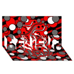 Red mess BELIEVE 3D Greeting Card (8x4)