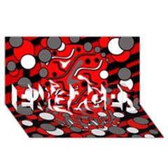 Red mess ENGAGED 3D Greeting Card (8x4)