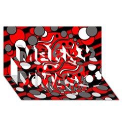 Red mess Merry Xmas 3D Greeting Card (8x4)