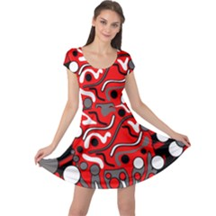 Red mess Cap Sleeve Dresses