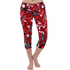Red Mess Capri Yoga Leggings