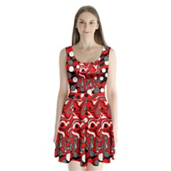 Red Mess Split Back Mini Dress