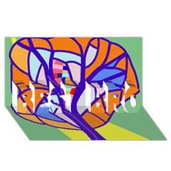 Decorative tree 4 BEST BRO 3D Greeting Card (8x4)