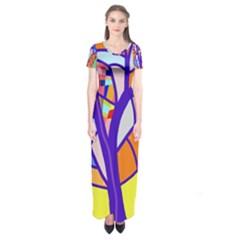 Decorative tree 4 Short Sleeve Maxi Dress