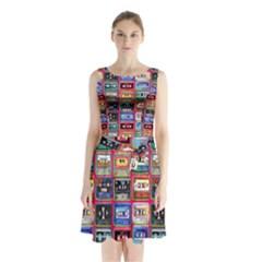 Acrylic Mix   Red Sleeveless Chiffon Waist Tie Dress