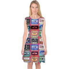 Acrylic Mix   Red Capsleeve Midi Dress