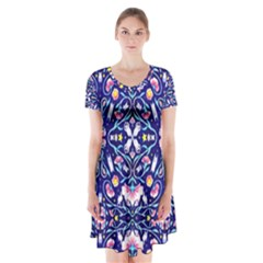 Flora Cosmica Short Sleeve V-neck Flare Dress
