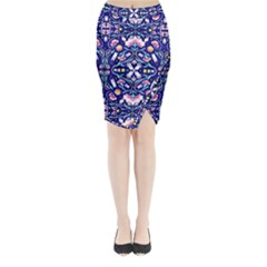 Flora Cosmica Midi Wrap Pencil Skirt