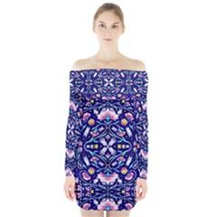Flora Cosmica Long Sleeve Off Shoulder Dress