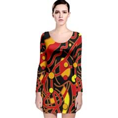 Orange floating Long Sleeve Velvet Bodycon Dress