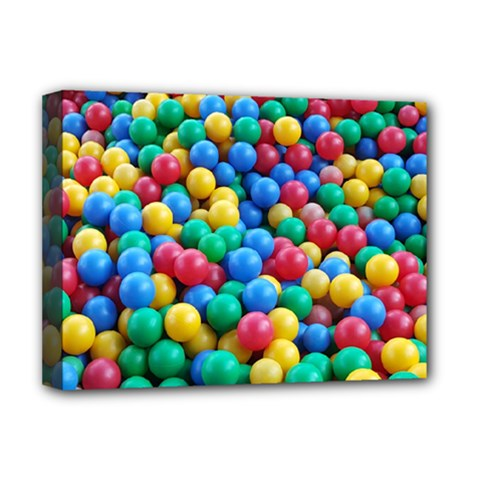 Funny Colorful Red Yellow Green Blue Kids Play Balls Deluxe Canvas 16  x 12