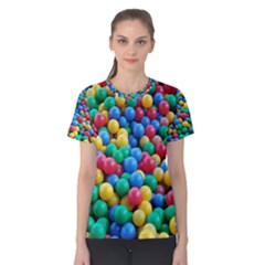 Funny Colorful Red Yellow Green Blue Kids Play Balls Women s Cotton Tee